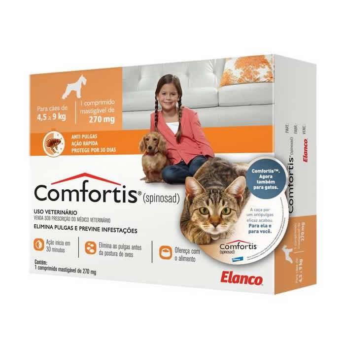 Comfortis Tablete 270mg para Cães de 4,5 a 9kg e Gatos de 2,8 a 5,4kg
