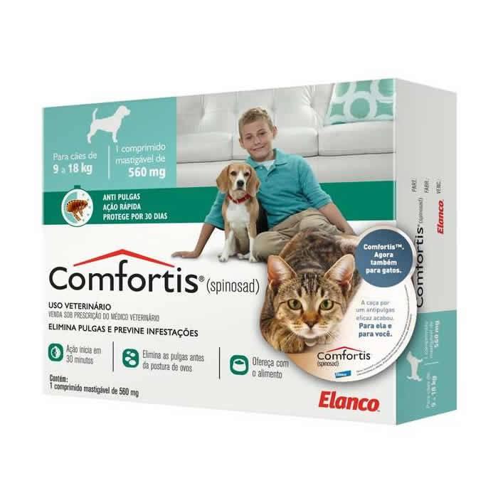 Comfortis Tablete 560mg para Cães de 9 a 18kg e Gatos de 5,5 a 11kg