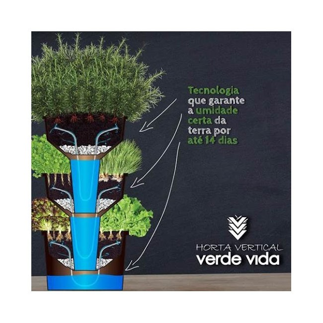 Horta Vertical Grande com Rodízios