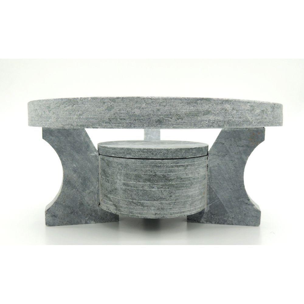 Kit Fondue (Forma para Carne e Rechaud) de Pedra Sabão