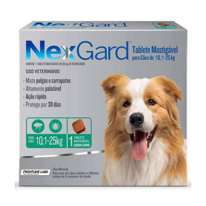 Nexgard Cães de 10,1 a 25 kg com 68 mg