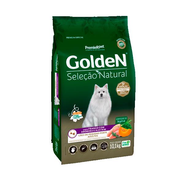 Ração Golden Seleção Natural Cães Adultos Mini Bits Sabor Frango com Abóbora e Alecrim