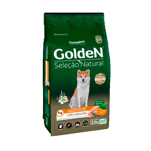 Ração Golden Seleção Natural Cães Adultos Sabor Frango com Abóbora e Alecrim