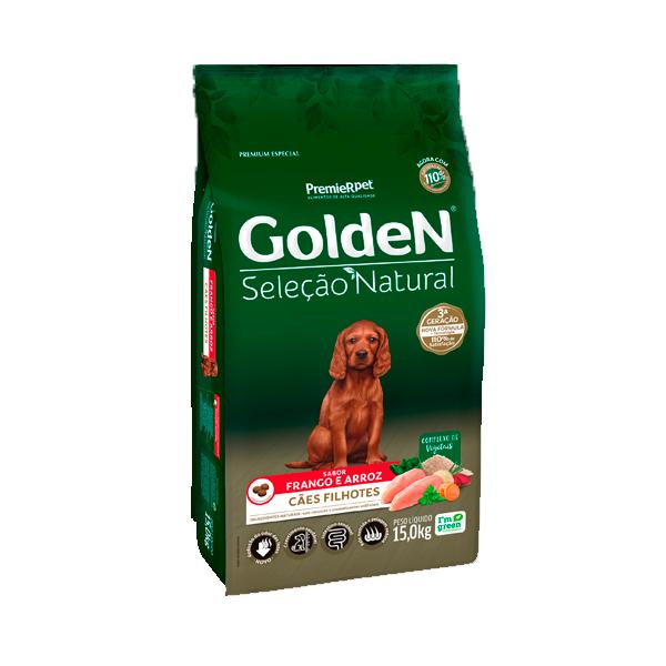 Ração Golden Seleção Natural Cães Filhotes Sabor Frango e Arroz