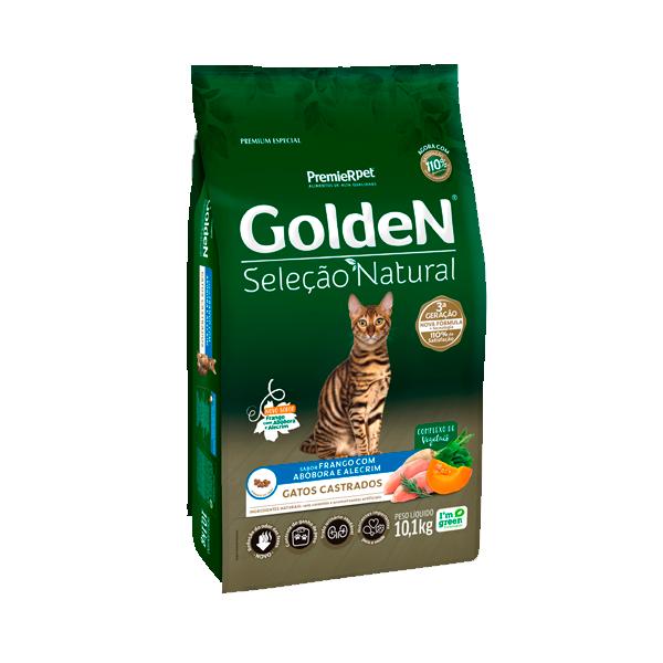 Ração Golden Seleção Natural Gatos Castrados Sabor Frango com Abóbora e Alecrim