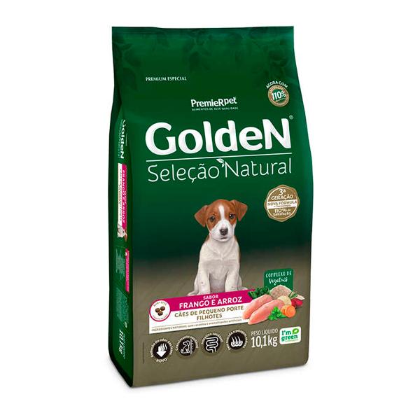 Ração Golden Seleção Natural para Cães Filhotes Mini Bits Sabor Frango e Arroz