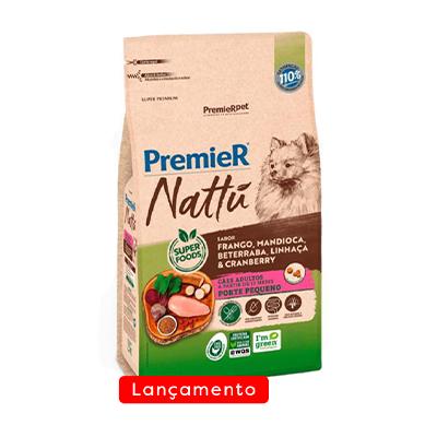 Ração Premier Nattu para Cães Adultos Raças Pequenas Sabor Mandioca