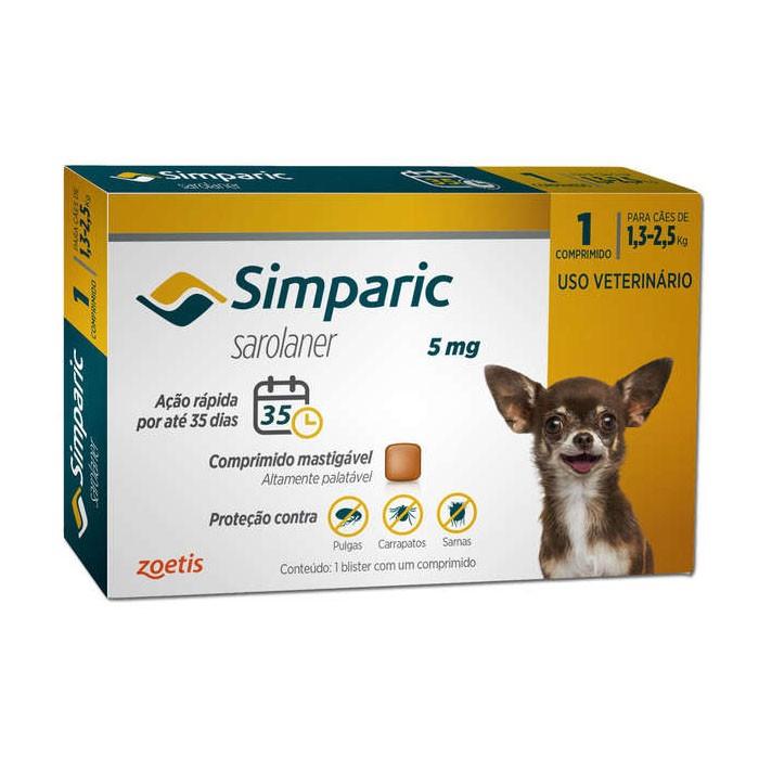 Simparic 5 mg para Cães de 1,3 a 2,5 kg