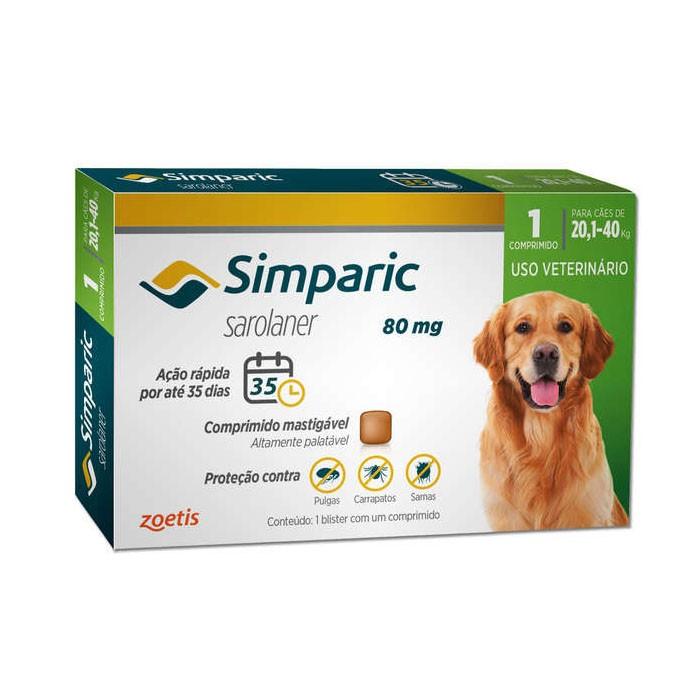 Simparic 80 mg para Cães de 20,1 a 40 kg