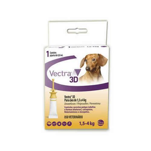 Vectra 3D Cães de 1,5 até 4 kg com 0,8ml