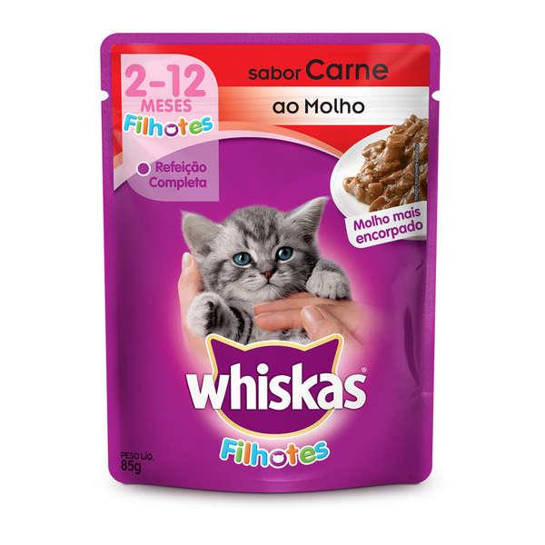 Whiskas Filhote Carne Molho Sachê 85g