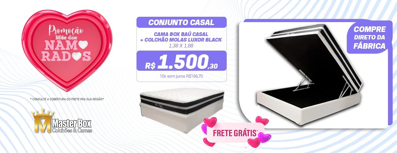 Conjunto Baú Casal + Colchão de Molas