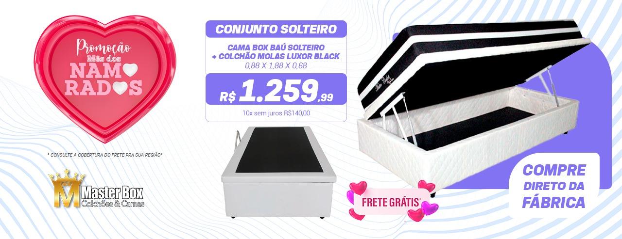Conjunto Baú Solteiro + Colchão de Molas