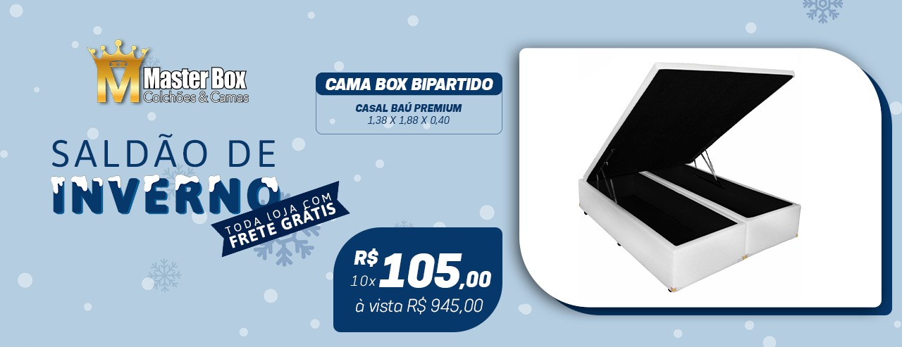 Cama Box Baú Bipartido King 1, 86 x 1,98 x 0,40 Premium