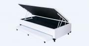 Cama Box Bau 3 em 1 Solteiro Medida Especial Corino Branco Com Cama Auxiliar Ortopédica Firme 0,78 x 1,88 x 046