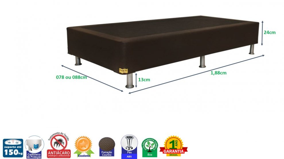 Base Box Premium Solteiro 0,88 x 1,88 x 37 Corino Marrom