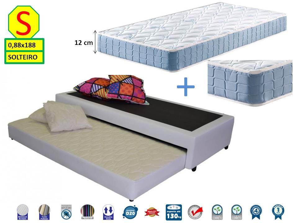 Bicama Box Solteiro 88x188 Premium Corino + Colchão de Espuma D20 Firme