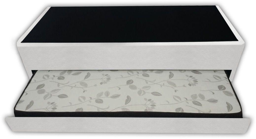 Bicama Box Solteiro Medida Especial C/ Auxiliar sem Colchão 78X188 Corino Branco