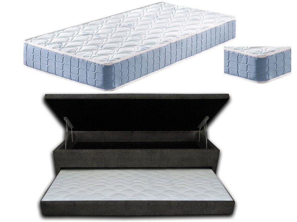 Cama Box Baú 3 Em 1 Solteiro 0,88x1,88 Sued Cinza Com Auxiliar em Espuma Firme + Colchão Espuma  D20 Super Resistente