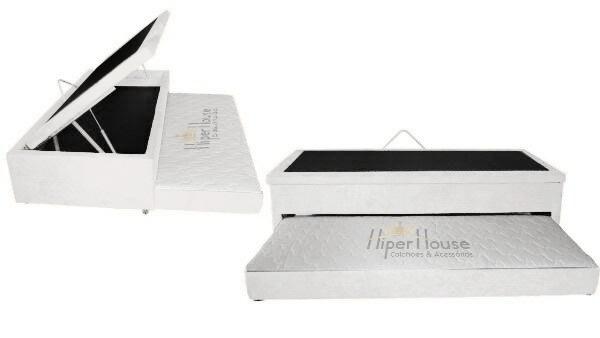Cama Box Bau 3 em 1 Solteiro Corino Branco Com Cama Auxiliar em Espuma D-28 Ortopédica Firme