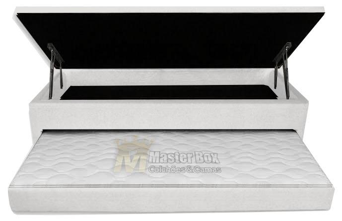 Cama Box Bau 3 em 1 Solteiro Corino Branco Com Cama Auxiliar Espuma D-28 Ortopédica Firme 0,78 x 1,88 x 046