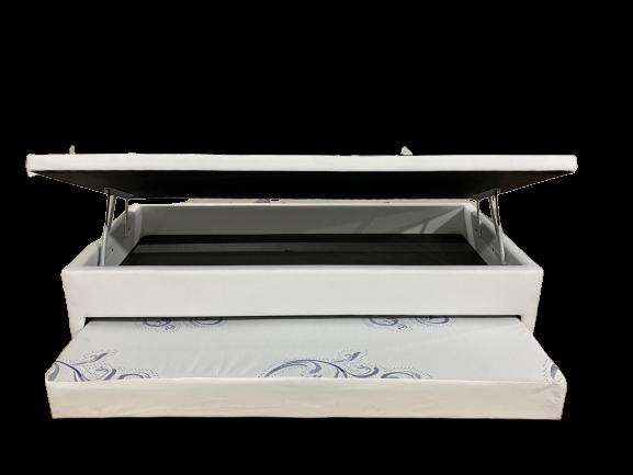 Cama Box Bau 3 em 1 Solteiro Corino Branco Com Cama Auxiliar  Espuma D-28  Ortopédica Firme