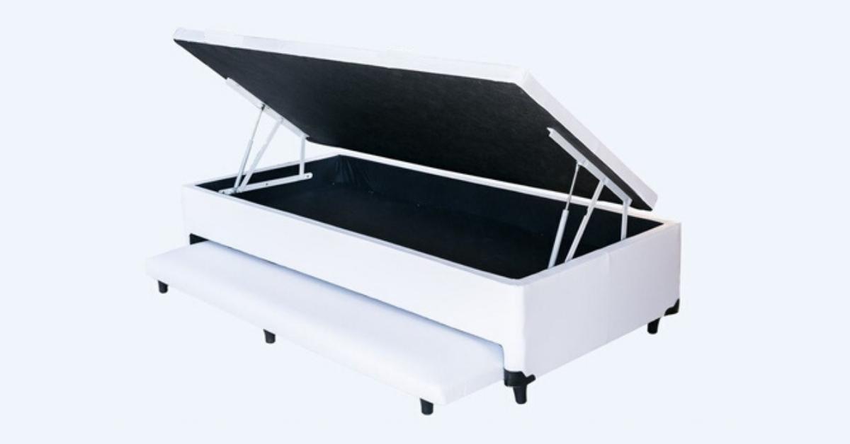 Cama Box Bau 3 em 1 Solteiro Corino Branco Com Cama Auxiliar Ortopédica Firme 1,10 x 1,88 x 046