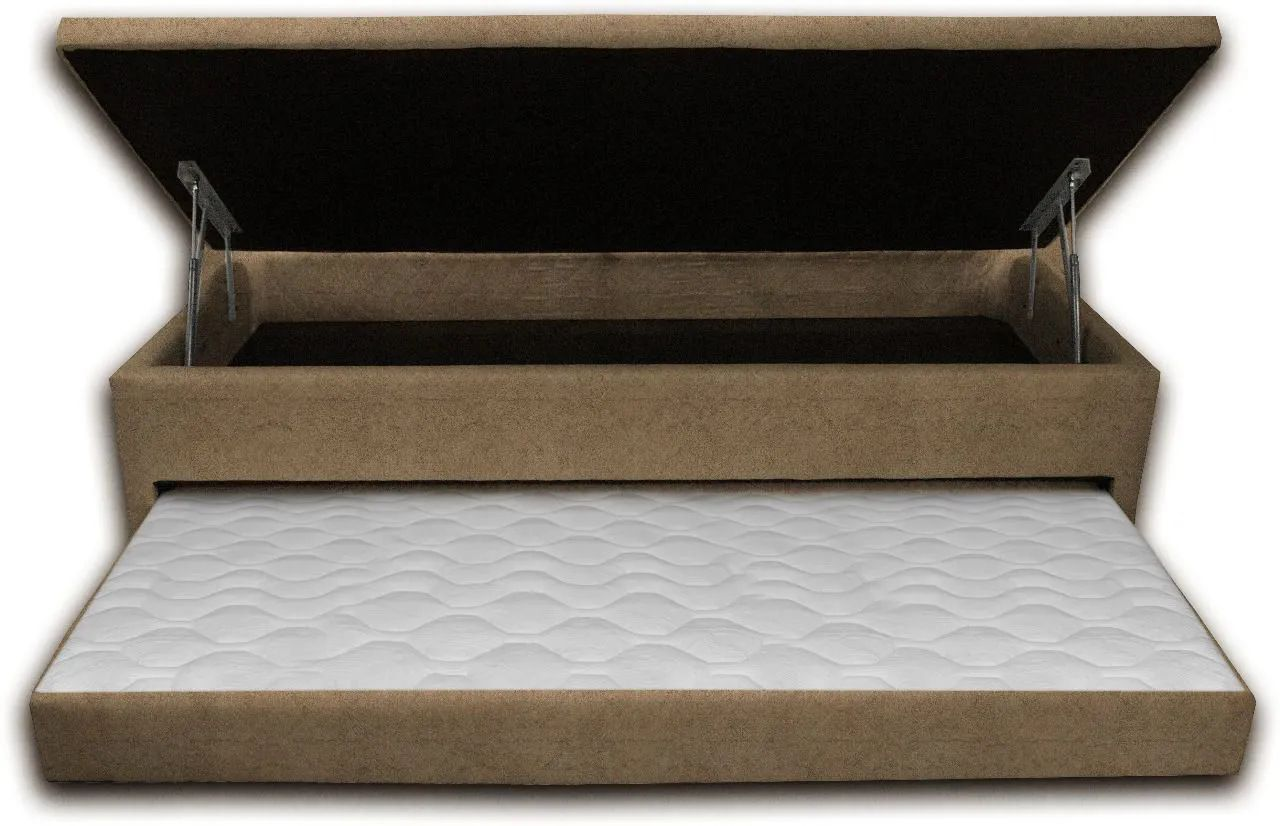Cama Box Bau 3 em 1 Solteiro Sued Bege Com Cama Auxiliar Ortopédica Firme 1,10 x 1,88 x 046