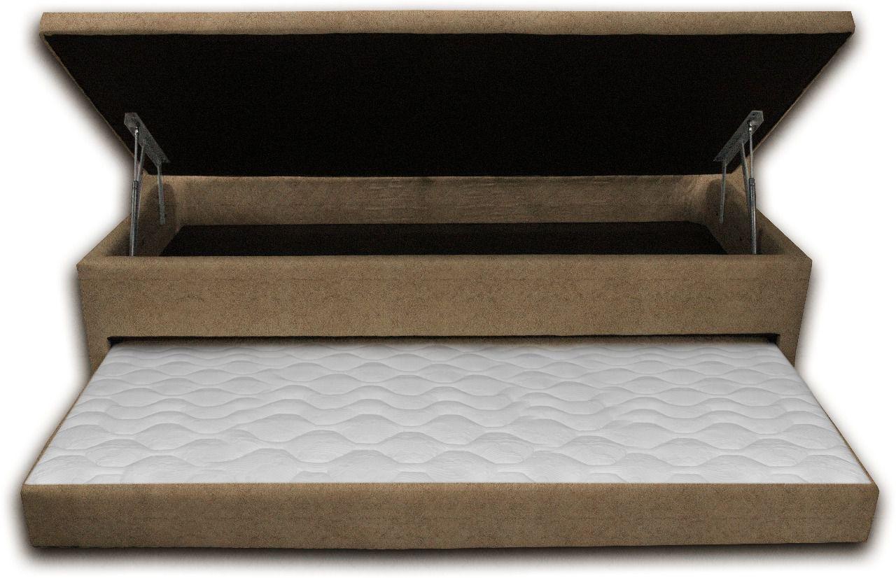 Cama Box Bau 3 em 1 Solteiro Sued Bege Com Cama Auxiliar Espuma D-28 Ortopédica Firme