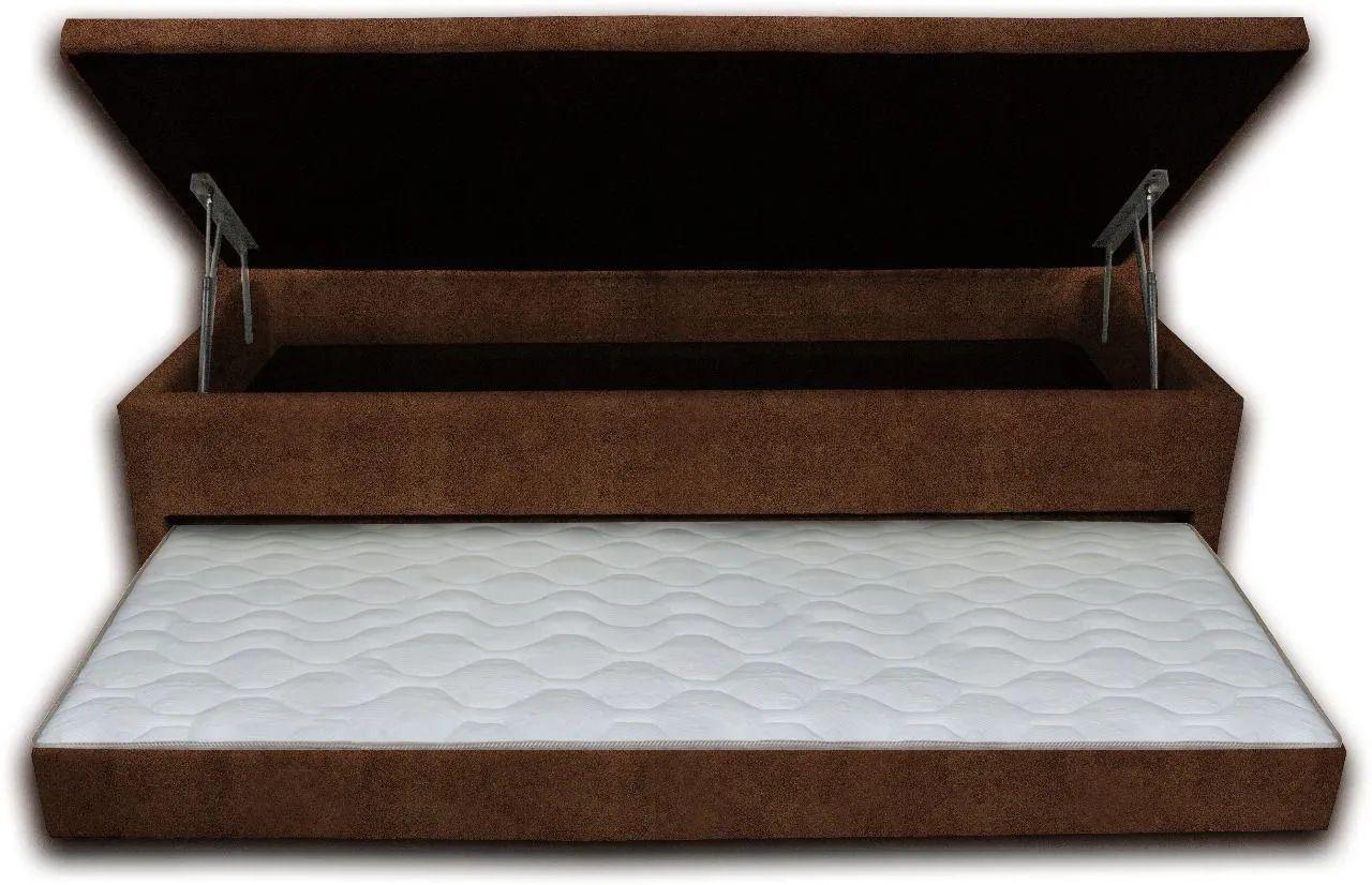 Cama Box Bau 3 em 1 Solteiro Sued Marrom Com Cama Auxiliar Ortopédica Firme 1,10 x 1,88 x 046