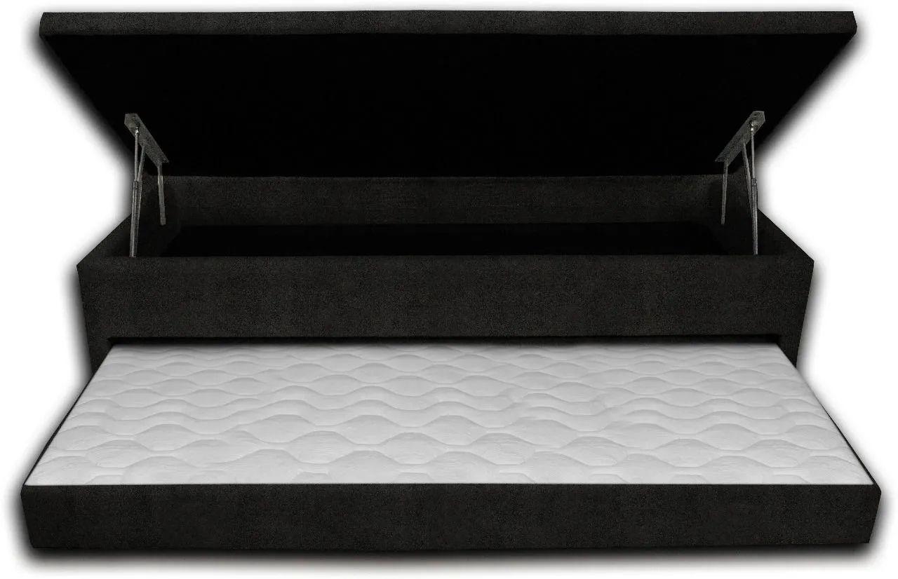 Cama Box Bau 3 em 1 Solteiro Sued Preto Com Cama Auxiliar Ortopédica Firme 1,10 x 1,88 x 046