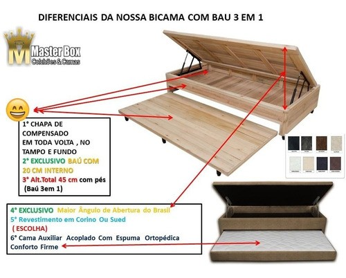 Cama Box Baú 78x188x46 Solteiro Especial 3 em 1 C/ Auxiliar Corino Branco ( Não Acompanha Colchão)
