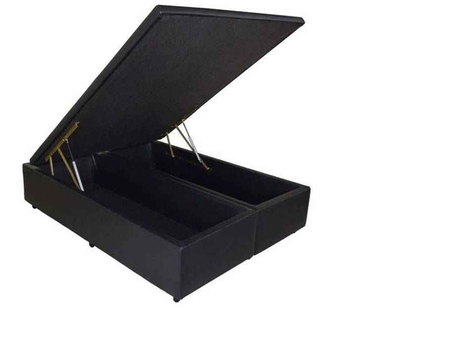 Cama Box Baú Bipartido Casal 1,38 x 1,88 x 0,40 Premium Corino Preto