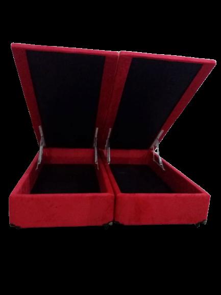 Cama Box Baú Bipartido Casal Com 4 Articulações  1,38 x 1,88 x 0,42 Gold  Sued Vermelho