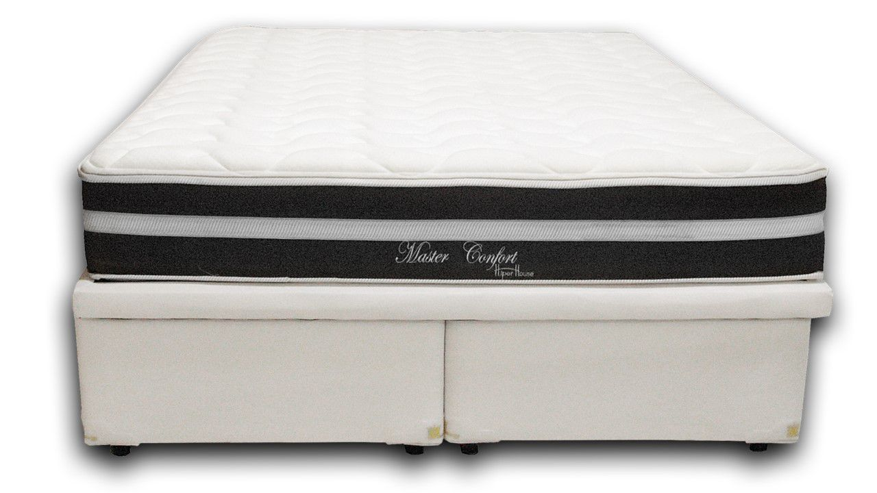 Cama Box Baú Bipartido Casal 1,38x1,88 Premium Corino Branco + Colchão de Molas Luxor Black