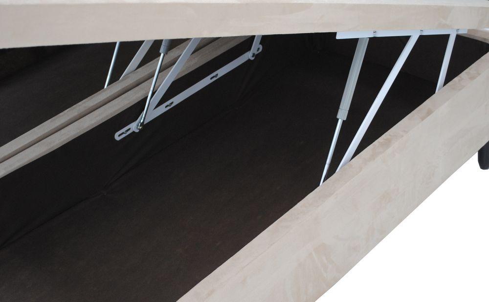 Cama Box Baú Bipartido Casal Premium 1,38 x 1,88 x 0,40 Com 4 Articulações Sued Bege