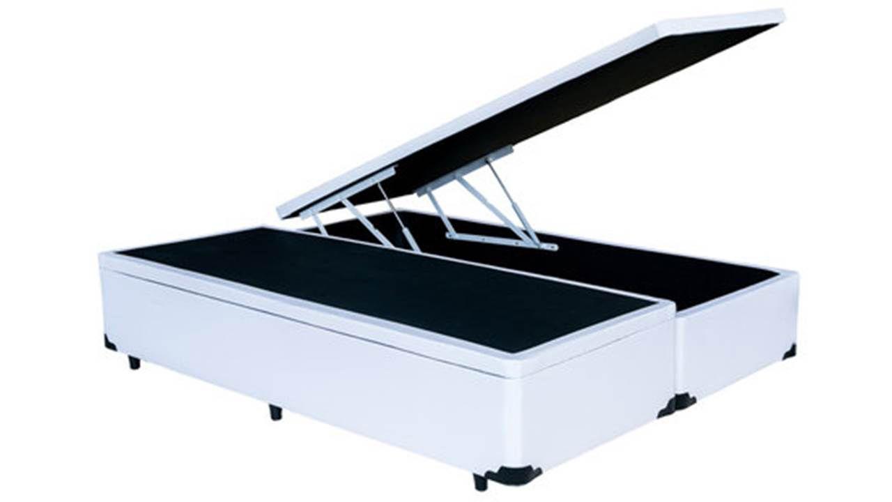 Cama Box Baú Bipartido Casal Premium 1,38 x 1,88 x 0,40 Com 4 Articulações Corino Branco