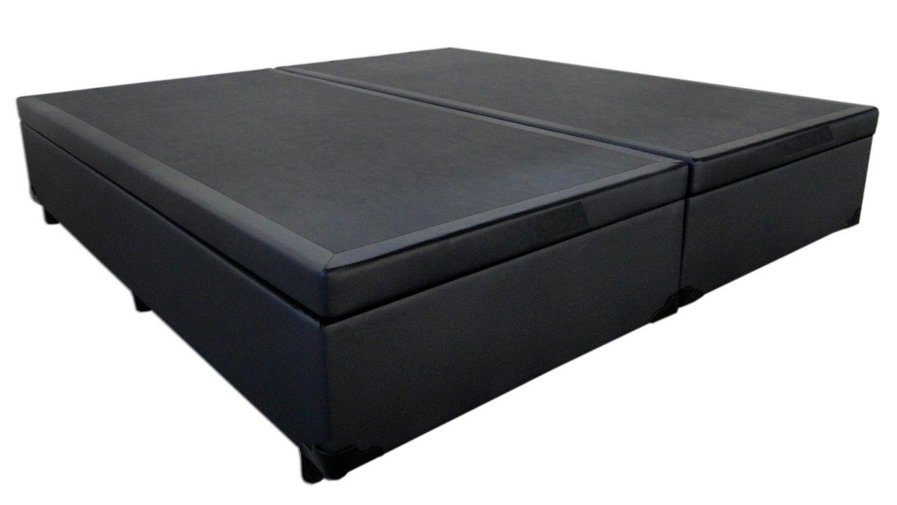Cama Box Baú Bipartido Casal Premium 1,38 x 1,88 x 0,40 Com 4 Articulações Corino Preto