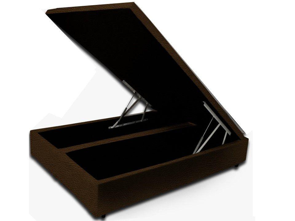 Cama Box Baú Bipartido Casal Premium 1,38 x 1,88 x 0,40  Corino Marrom