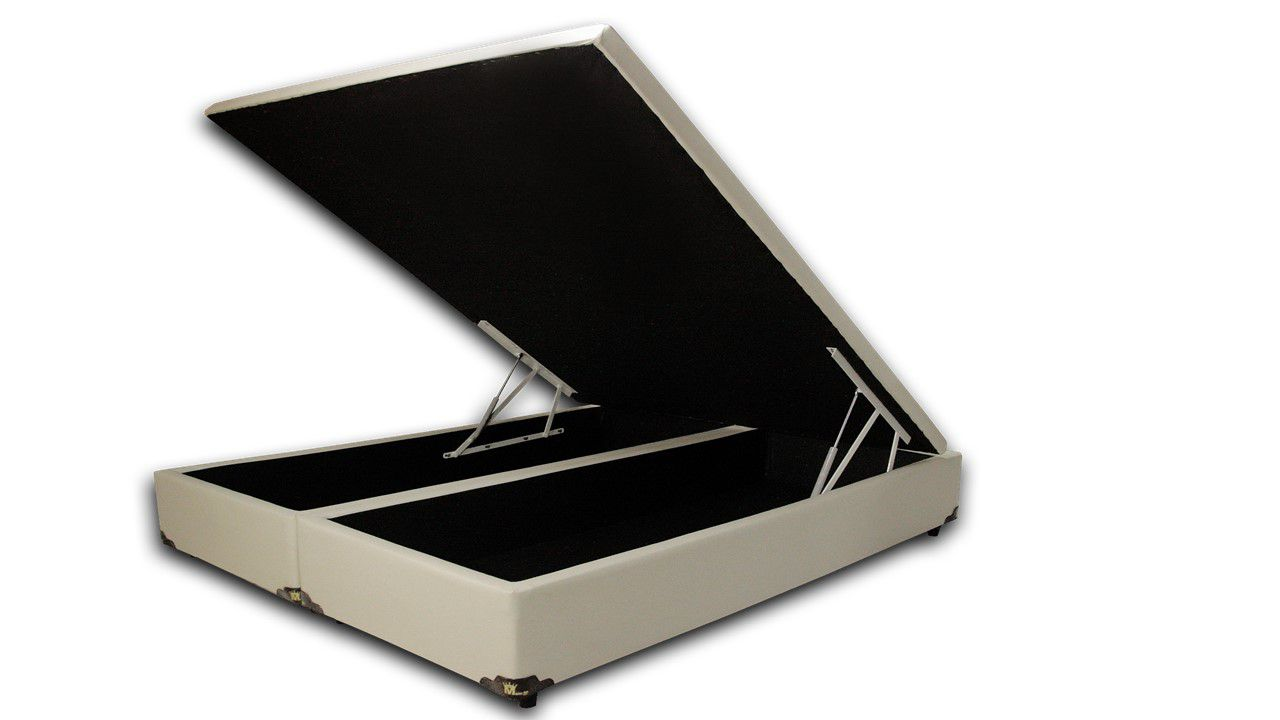 Cama Box Baú Bipartido Casal Premium 1,38 x 1,88 x 0,40 Corino Bege