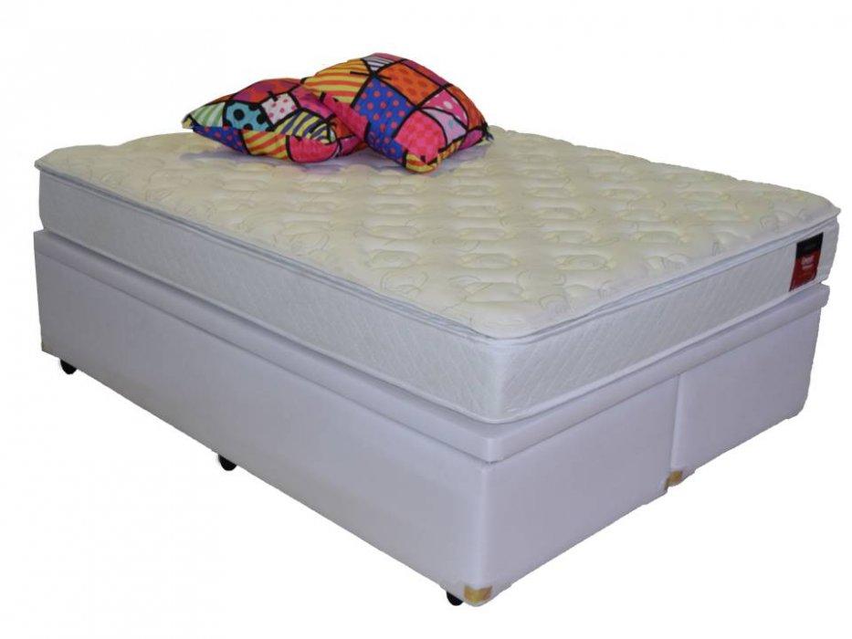 Cama Box Baú Bipartido Casal Premium 1,38 x 1,88 x 0,40 Corino Branco