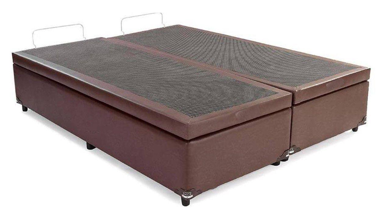 Cama Box Baú Bipartido King  Americano 1,78 x 1,98 x 0,40 Premium Corino Marrom