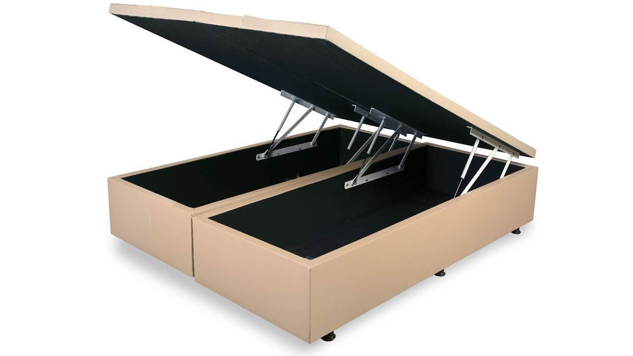 Cama Box Baú Bipartido King 1, 93 x 2,03 x 0,40 Premium Corino Bege