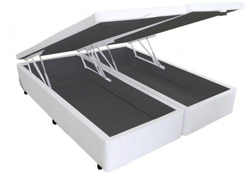 Cama Box Baú Bipartido King 1,93 x 2,03 x 0,40 Premium Corino Branco