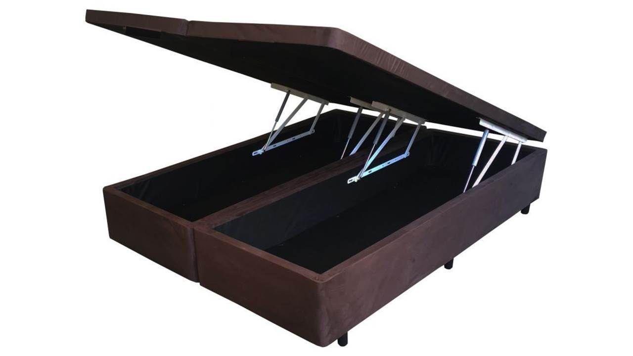 Cama Box Baú Bipartido King 1,93 x 2,03 x 0,40 Premium Sued Marrom