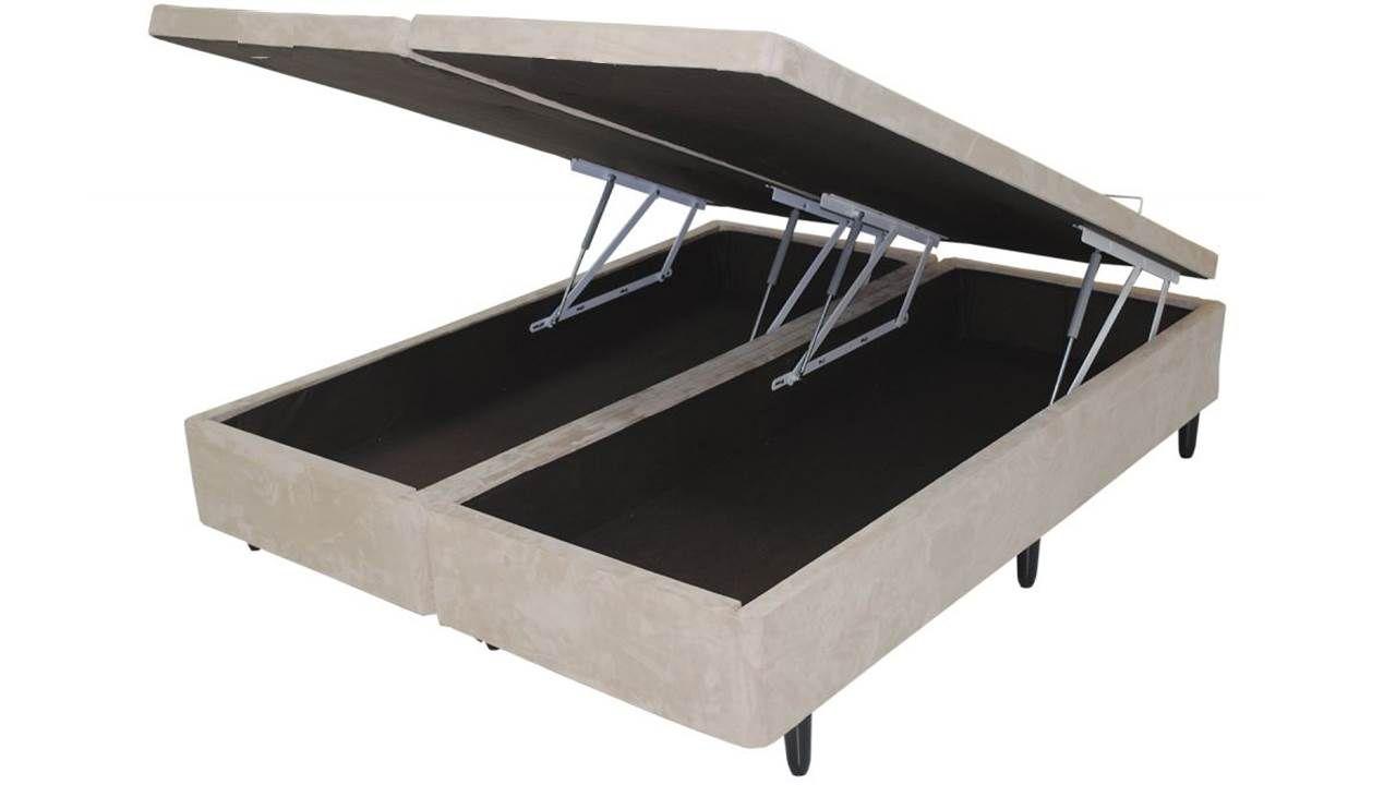 Cama Box Baú Bipartido King 1,93 x 2,03 x 0,40 Premium Sued Bege