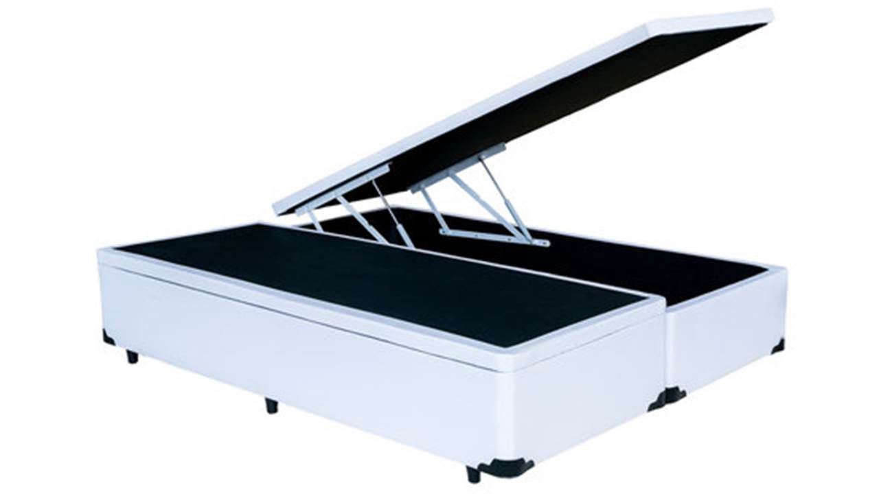 Cama Box Baú Bipartido King Americano 1, 78 x 1,98 x 0,40 Premium Corino Branco