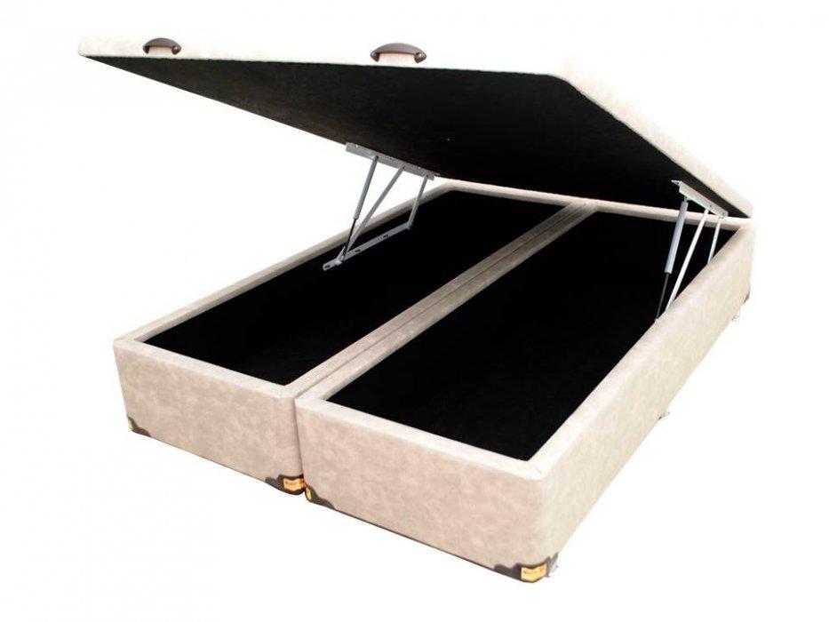 Cama Box Baú Bipartido Queen 158X198cm Master Gold Sued Bege