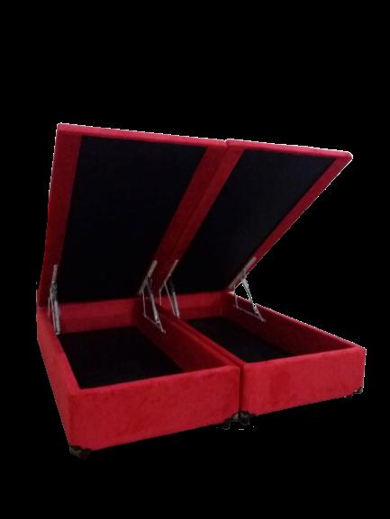 Cama Box Baú Bipartido Queen Com 4 Articulações 1,58 x 1,98 x 0,42 Gold Sued Vermelho