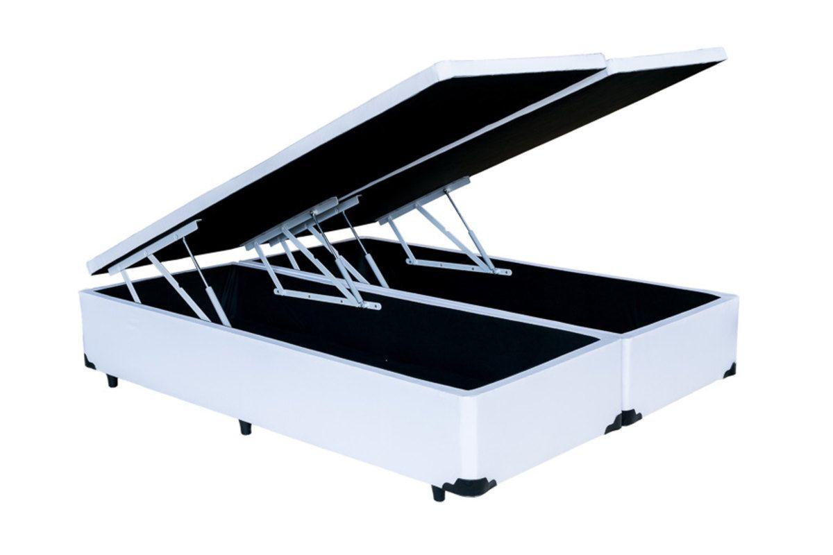 Cama Box Baú Bipartido Queen Premium 1,58 x 1,98 x 0,40 Com 4 Articulações Corino Branco